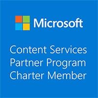 Logo des Microsoft Content Services Partnerprogramms für Charter Member wie die Portal Systems AG.